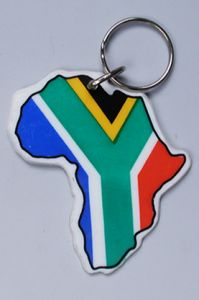 Ref. Ck18 - Africa Shape Keyring with SA Flag