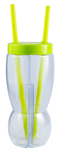 Drinkware - Two Part Glass 500ml per side Ref799 - Lime Green
