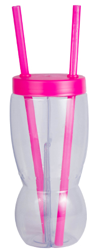 Drinkware - Two Part Glass 500ml per side Ref799 - Magenta