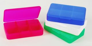 Ref. 1022 - Pill Box - 6 Compartments - Colours stacked