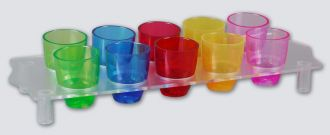 Ref. 417 - Straight sided shot glass tray - Colours