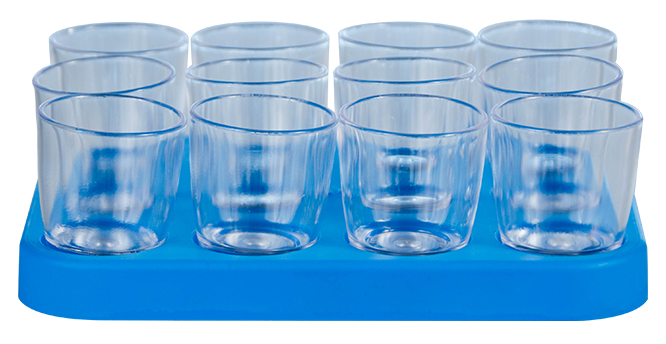 Shot Glass - 25ml Bulk Shot Glass Tray x12 Ref 460 - Cyan