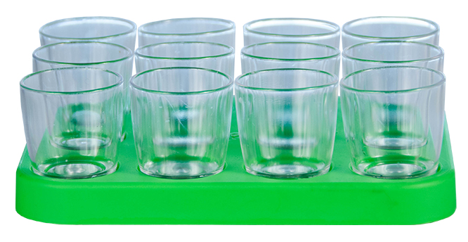Shot Glass - 25ml Bulk Shot Glass Tray x12 Ref 460 - Neon Green