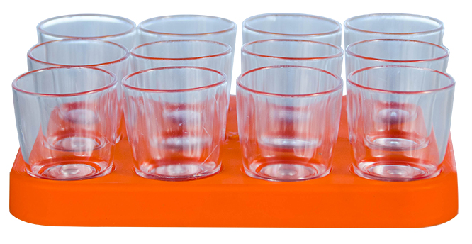 Shot Glass - 25ml Bulk Shot Glass Tray x12 Ref 460 - Oange