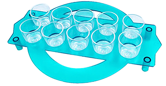 Shot Glass - 25ml Round Shot Glass Tray x10 Ref 416 - Clear Blue