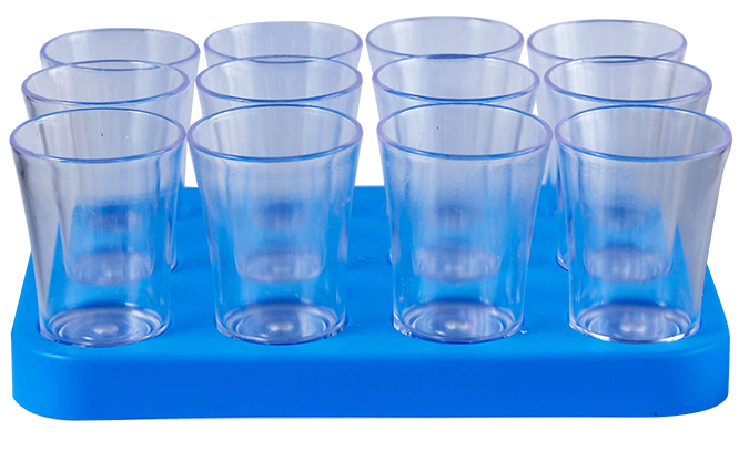 Shot Glass- 50ml Bulk Shot Glass Tray x12 Ref 461 - Cyan