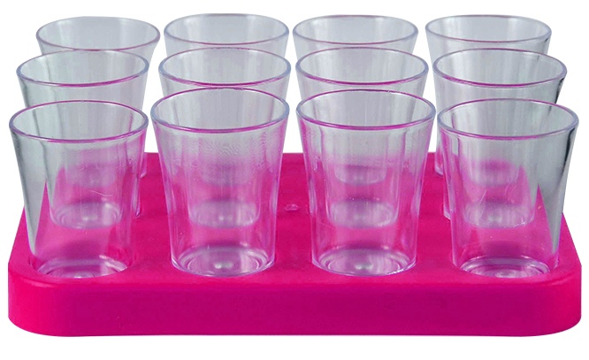 Shot Glass- 50ml Bulk Shot Glass Tray x12 Ref 461 - Magenta