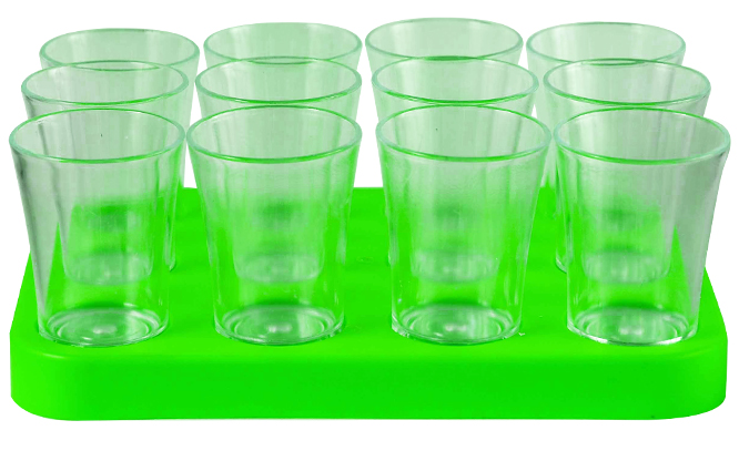 Shot Glass- 50ml Bulk Shot Glass Tray x12 Ref 461 - Neon Green