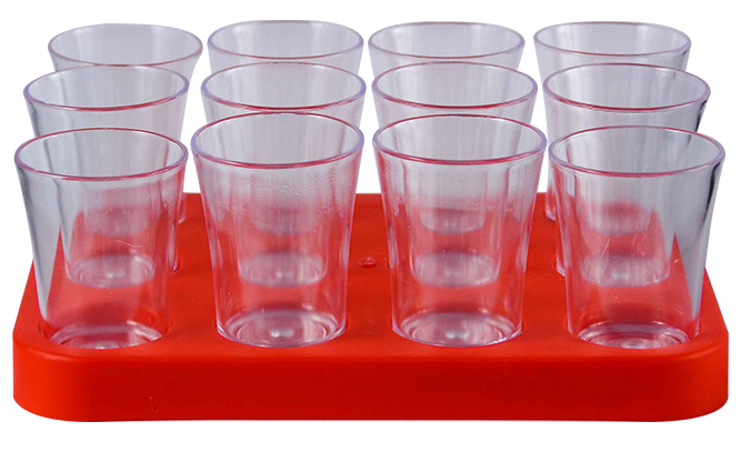 Shot Glass- 50ml Bulk Shot Glass Tray x12 Ref 461 - Red