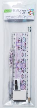 Stationery Set - Kids Stationery Set with Ruler 15cm Ref 234 - Pink Blossom