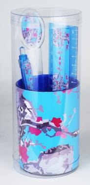 Pencil Cup - Pencil Cup with Contents Ref 195 - Blue Blossoms