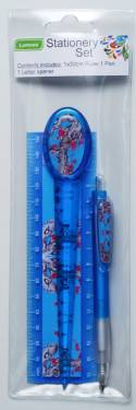 Stationery - Adult Stationery Set with Ruler 15cm Ref 197 - Blue Blossoms