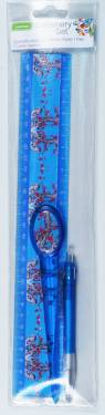 Stationery - Adult Stationery Set with Ruler 30cm Ref 199 - Blue Blossoms