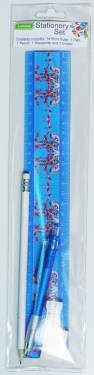 Stationery - Kids Stationery Set with Ruler 30cm Ref 200 - Blue Blossoms