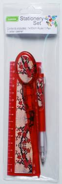 Stationery - Adult Stationery Pack with Ruler 15cm Ref 179 - Red Blossoms