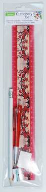 Stationery - Kids Stationery Pack with Ruler 30cm Ref 182 - Red Blossoms