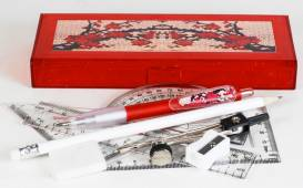 Pencil Box - Pencil Box with  option to select contents & Maths Set Ref 176B  - Red Blossoms