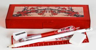 Pencil Box - Pencil Box with  option to select contents Ref 176A  - Red Blossoms