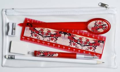Pencil Case - Pencil Case with Contents Ref 175 - Red Blossoms