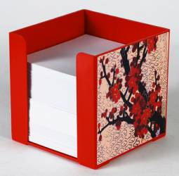 Paper Holder - Cube Paper Holder Ref 168 - Red Blossoms