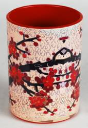 Pencil Cup Ref 167 - Red Blossoms