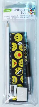 Stationery - Kids Stationery Set with Ruler 15cm Ref 289 - Emoticons