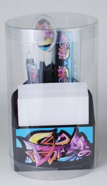 Paper Holder - Triangle Paper Holder & Pen Holder Set Ref 250 - Graffiti