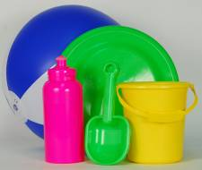 Beach Set - Bucket-Spade-Bottle-Frisbee-Ball Ref 1041