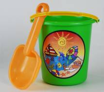 Beach Set - Bucket and Spade Ref 761 - Greem & Orange