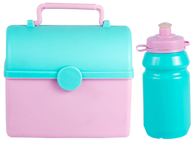 Lunch Box - Tresure Chest Lunch Box weith 300ml Sports Bottle Ref 754 - Mint & Baby Pink