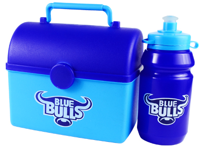 Lunch Box - Tresure Chest Lunch Box with 300ml Sports Bottle Ref 754 - Cyan & Royal Blue, Blue Bulls