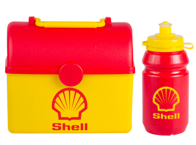 Lunch Box - Tresure Chest Lunch Box with 300ml Sports Bottle Ref 754 - Red & Yellow, Shell