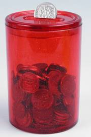 Money Box - Round Money Box Ref 727 - Opaque Red