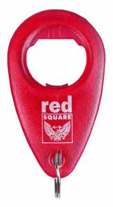 Bottle Opener - Teardrop Bottle Opener Key Ring Ref BO10 - Red Square