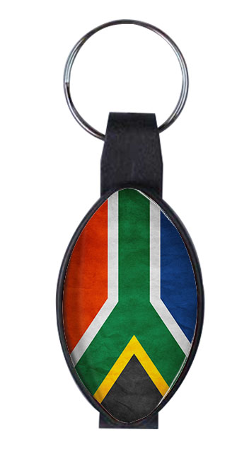 Bottle Opener - Oval Domed Bottle Opener & Key Ring Ref BO13 - SA Flag