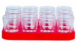 Tray - Shot Glass Tray 25ml Ref 460 - Clear Red Tray
