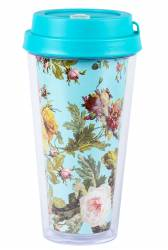 Cup - Double Wall Travel Cup Ref 1093  PS - Cyan with FLower Wrap Print