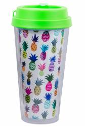 Cup - Double Wall Travel Cup Ref 1093  PS - Neon Green with Pineapple Wrap Print