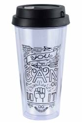 Cup - Double Wall Travel Cup Ref 1093 PS - Black with Wrap Print
