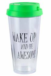 Cup - Double Wall Travel Cup Ref 1093 PS - Green with Text Pad Print