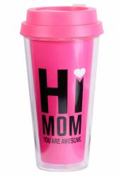 Cup - Double Wall Travel Cup Ref 1093 PS - Pink with Wrap Print