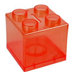 Money Box - Lego Money Box Ref.1322 - Clear Red